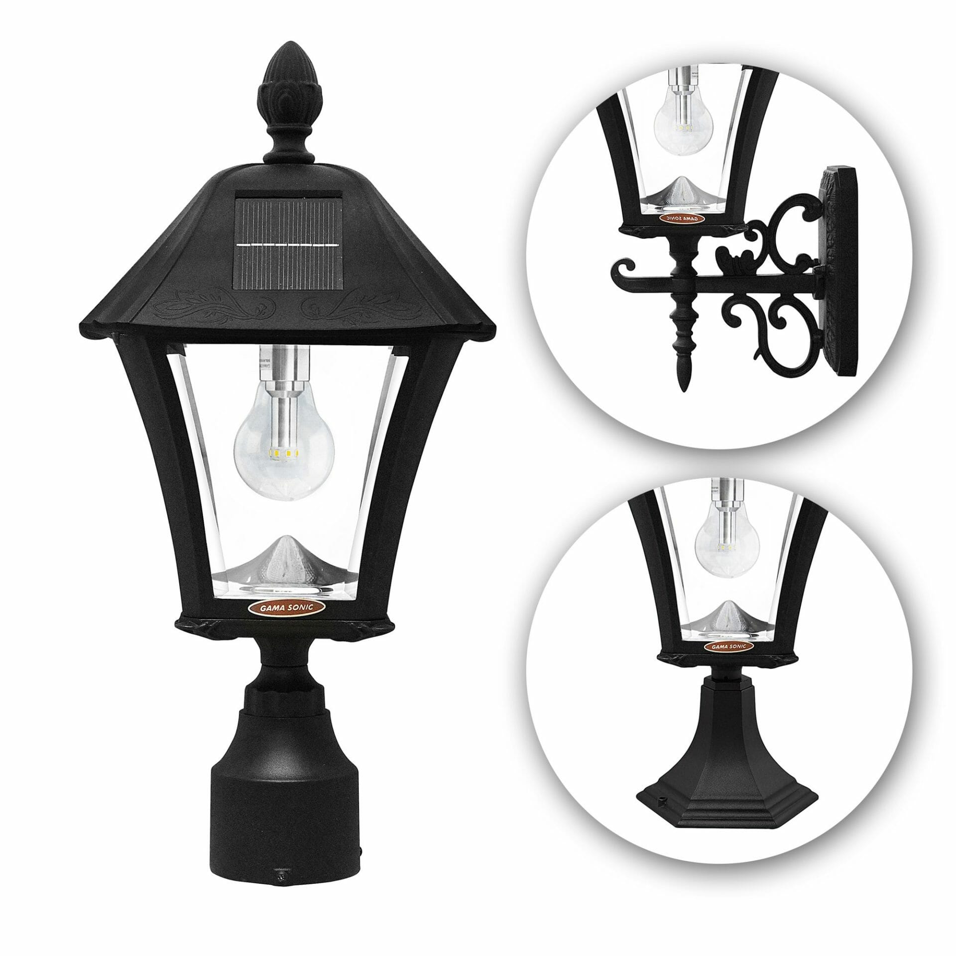 Baytown Bulb Solar Lamp with 3 Mounting Options - Blk