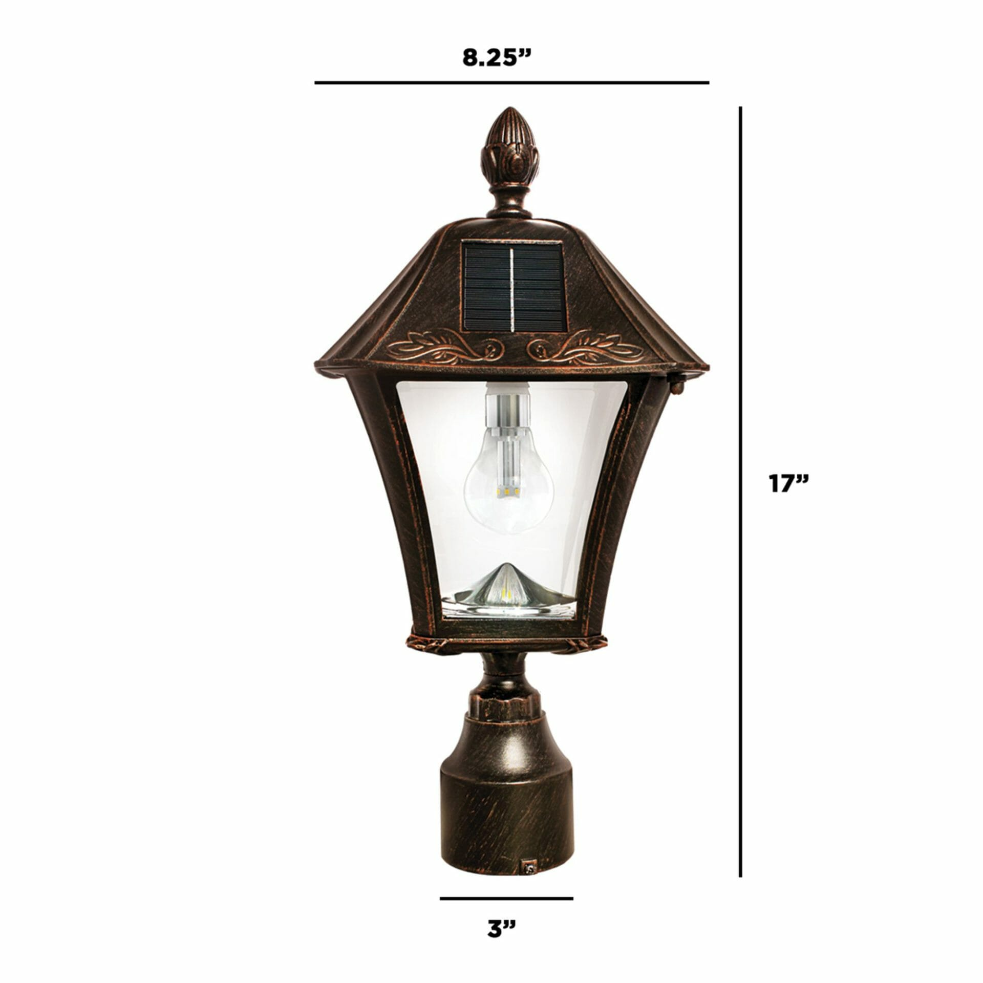 Baytown Bulb Solar Lamp with 3 Mounting Options - Dimensions