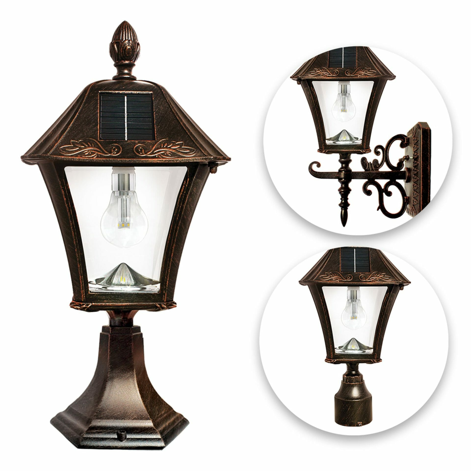 Baytown Bulb Solar Lamp with 3 Mounting Options - Brushed Bronze