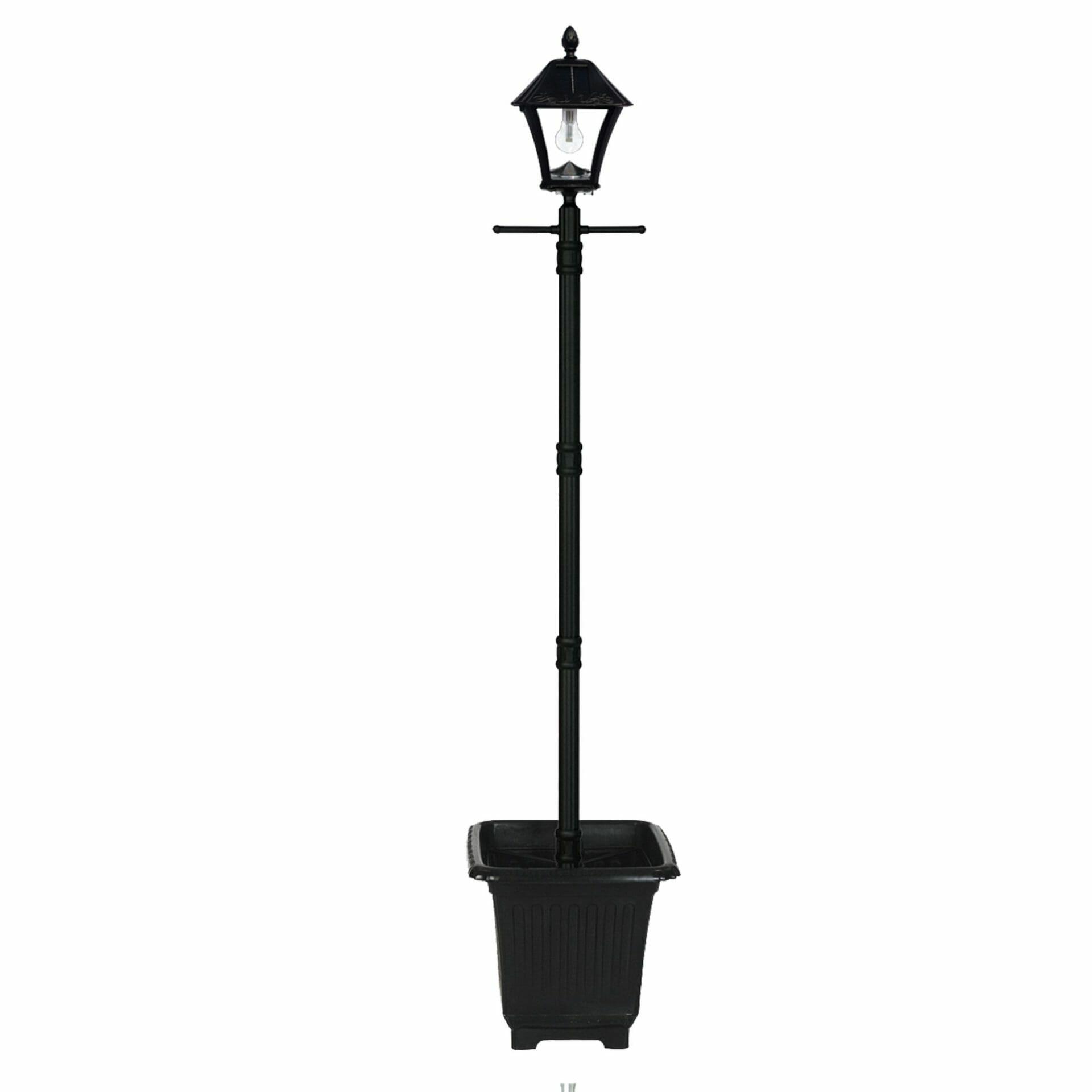 Baytown Bulb Solar Lamp Post with EZ-Anchor and Planter GS-106B-PLSG