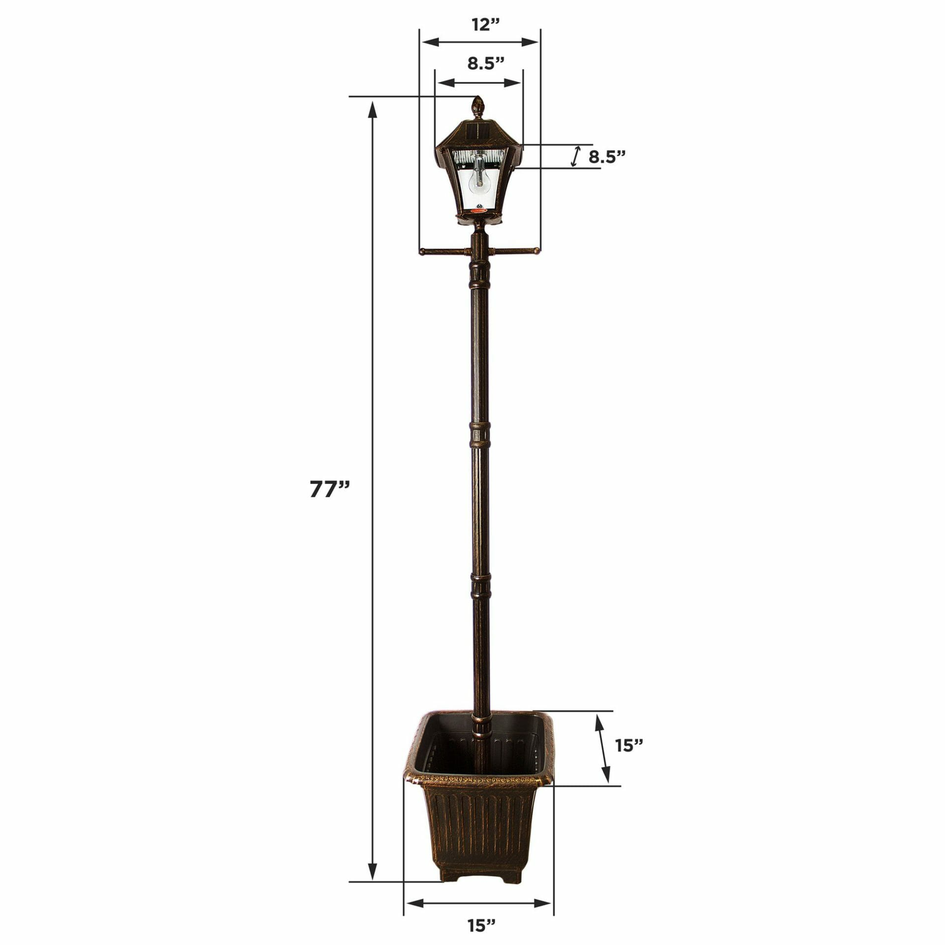 Baytown Bulb Solar Lamp Post with EZ-Anchor and Planter - Dimensions