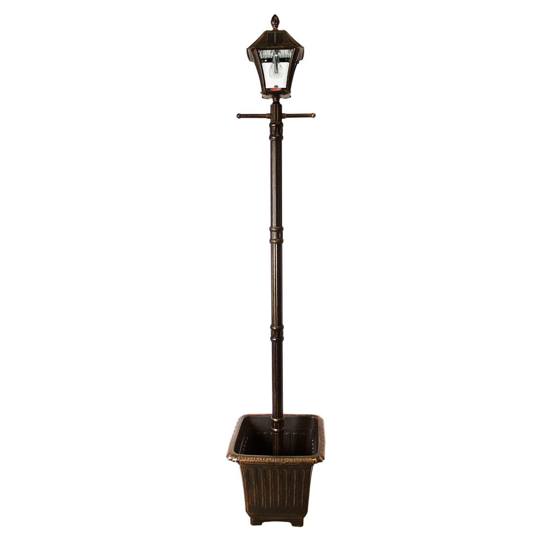 Baytown Bulb Solar Lamp Post with EZ-Anchor and Planter GS-106B-PLSG
