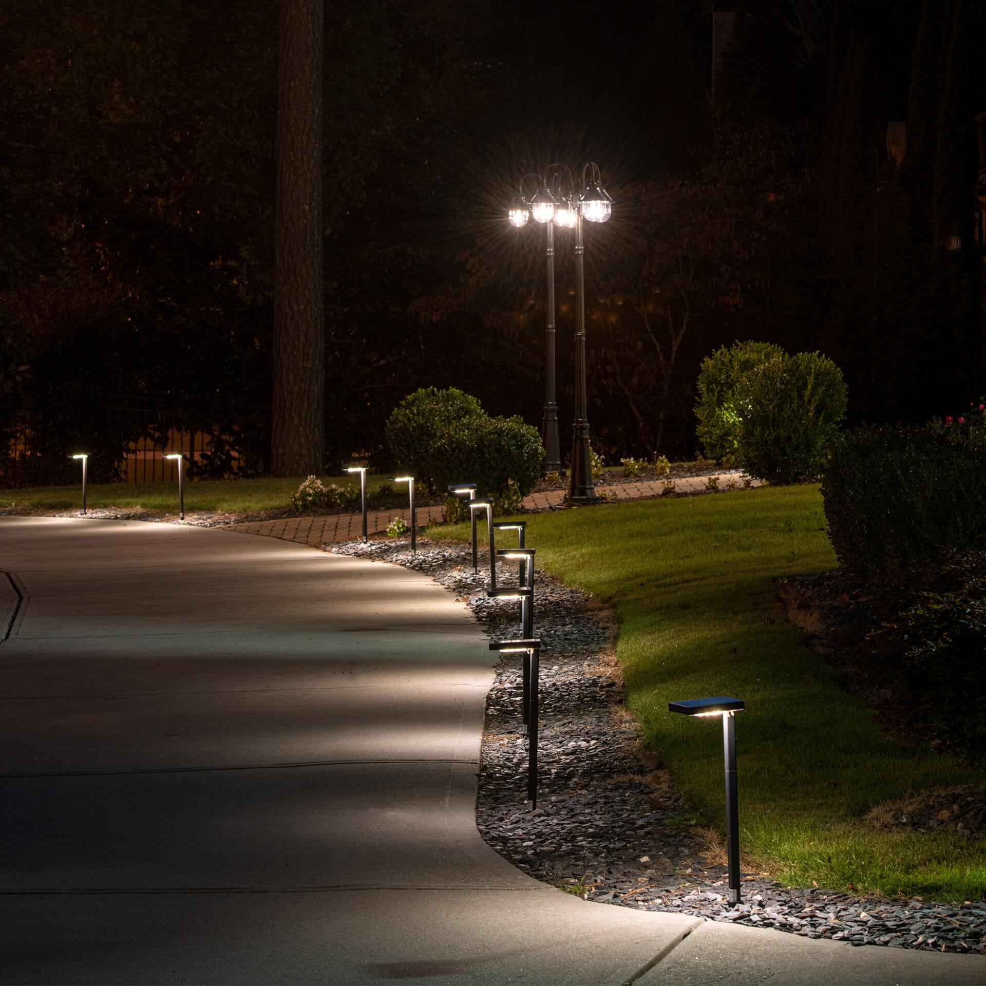 Contemporary Square Solar Path Light
