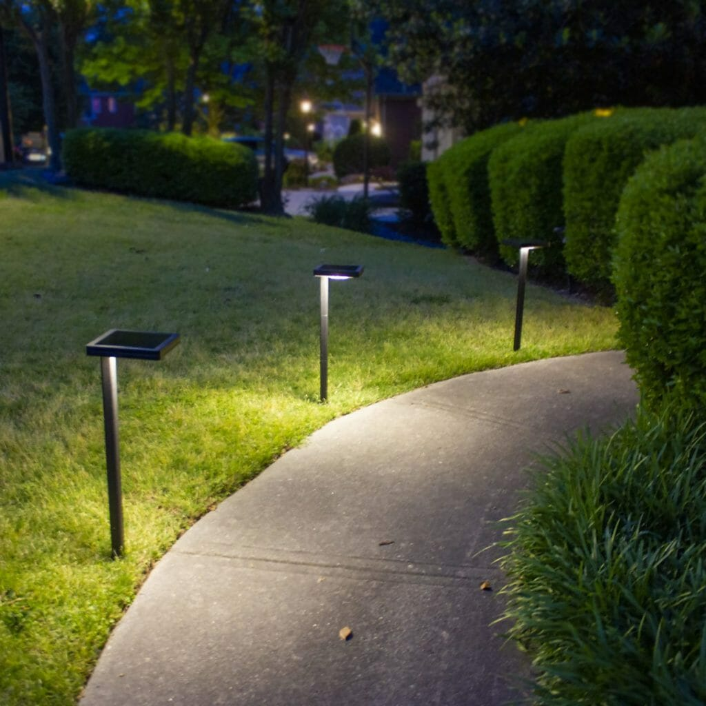Contemporary Square Solar Path Light with 3 Ground Stake Mounting Options 117i90080