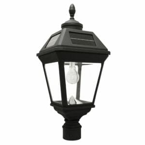 "Imperial Bulb Solar Light w/GS Solar Light Bulb - 3"" Fitter Mount - Eagle/Acorn Finial - How to Replace an Existing Gas Lamp with a Solar Post Light"