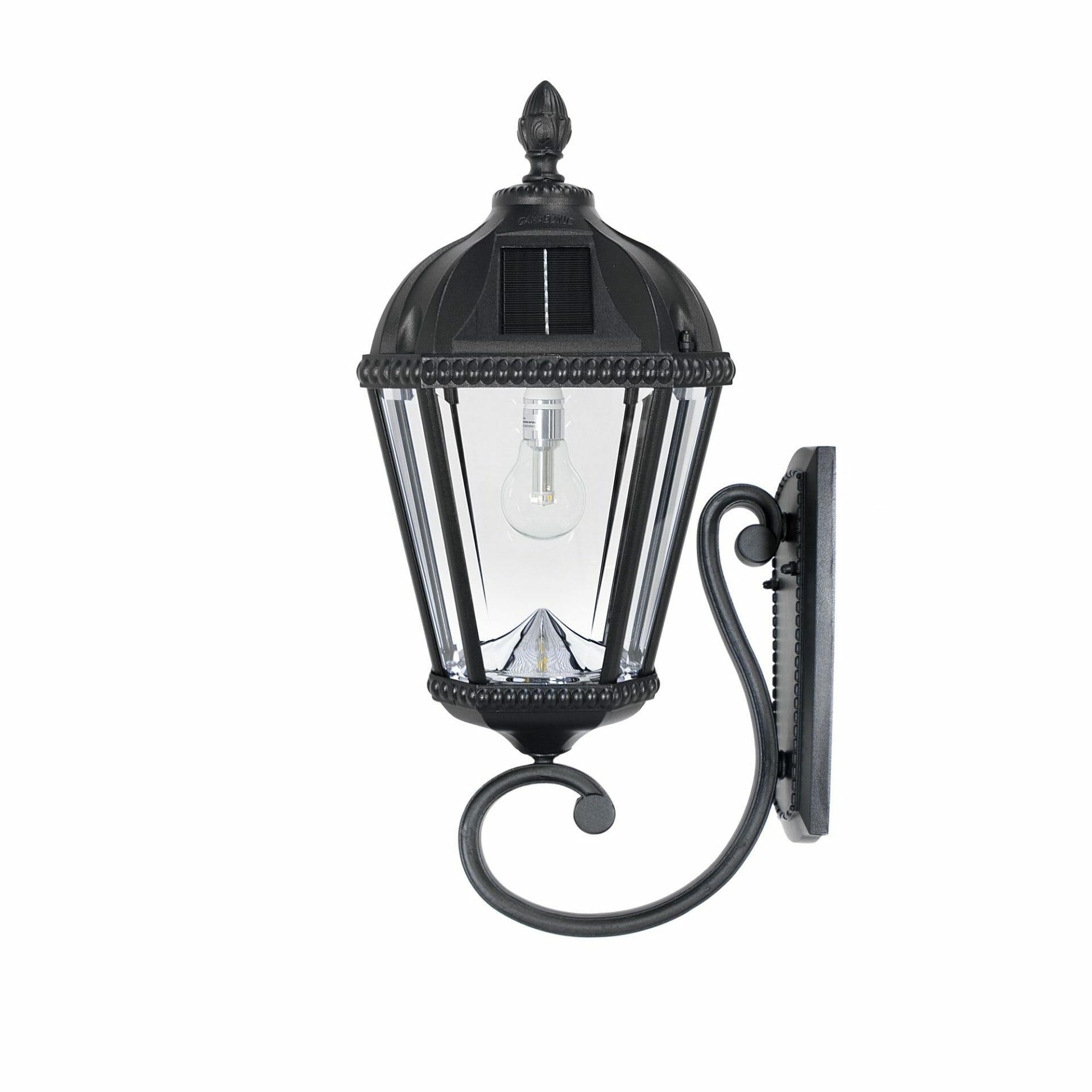 Royal Bulb Wall Mount Solar Lamp - Black