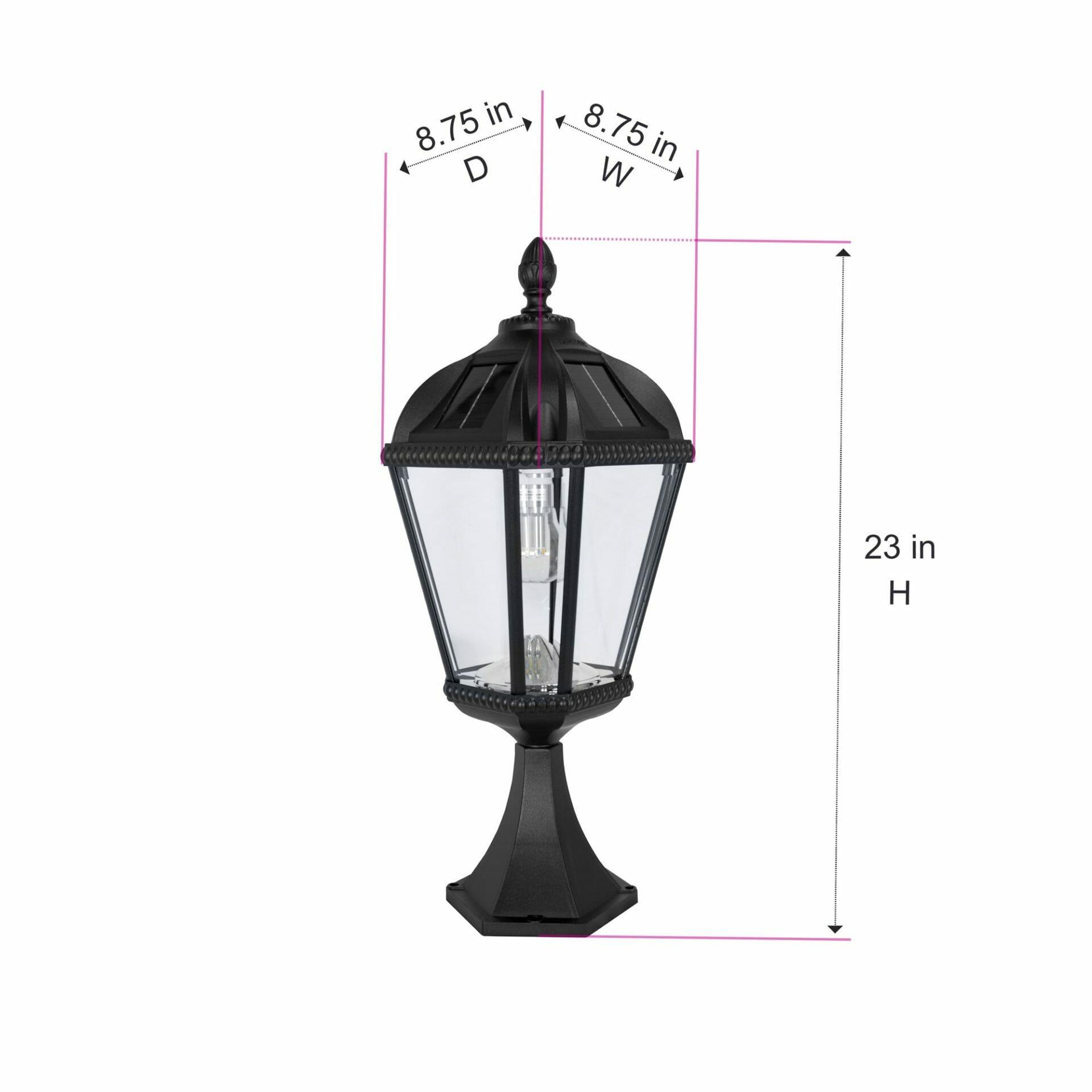 Royal Bulb Pier Mount Solar Lamp - Dimensions