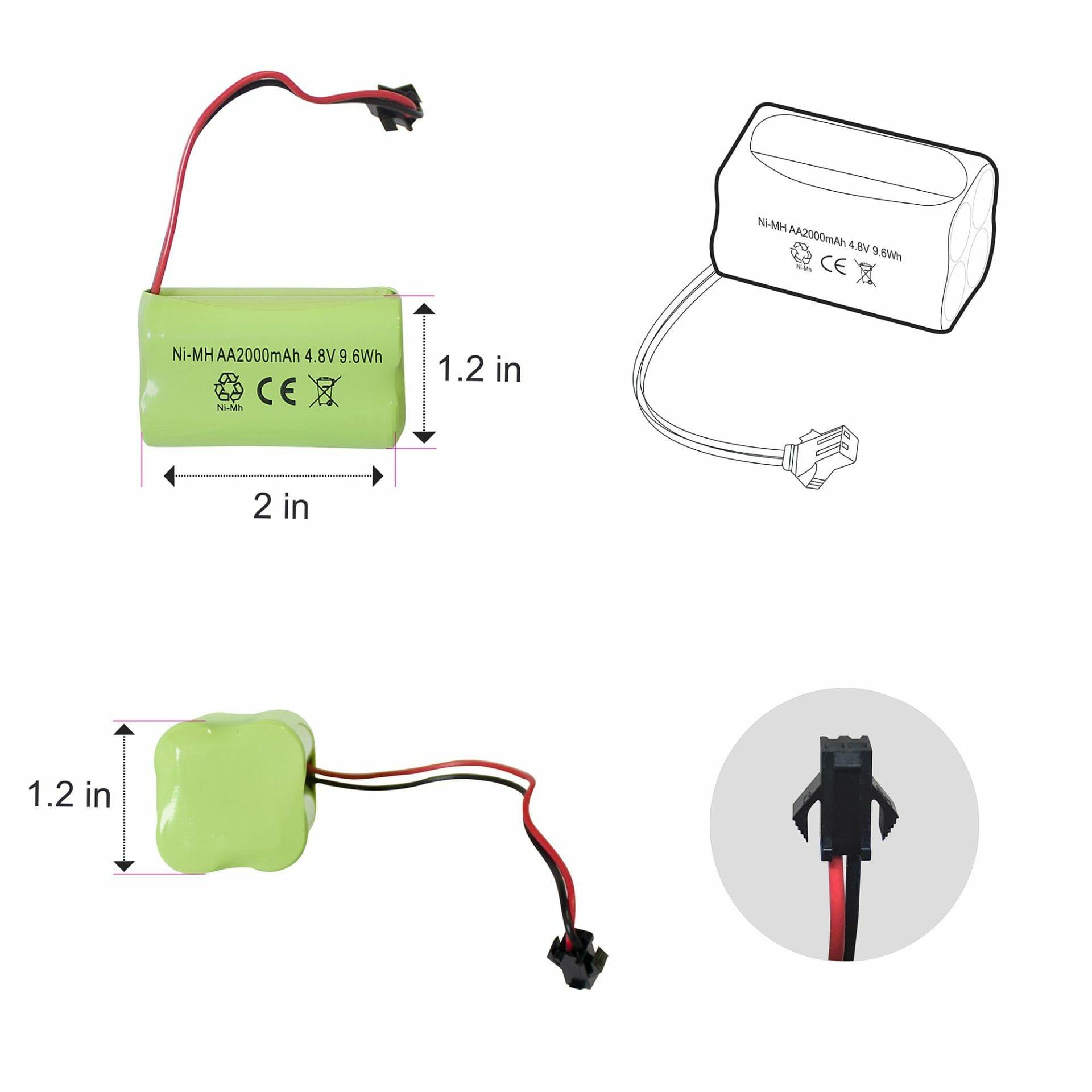 4.8V Battery Dimensions
